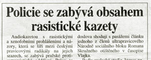 5.9.2001 - Prvo - Policie se zabv obsahem rasistick kazety